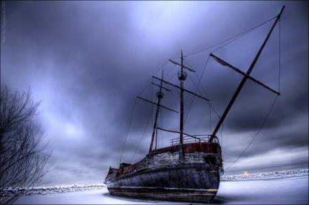 Заставки корабль, зима, лёд