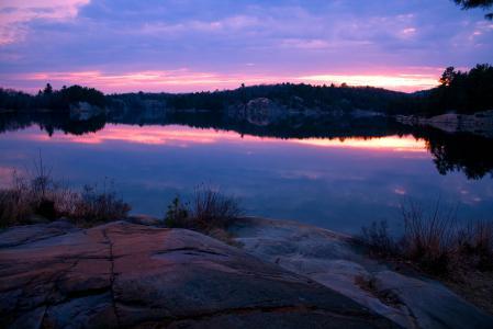 Фотографии озеро, камни, вечер, закат
