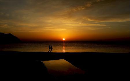 Заставки Закат, море, горизонт, небо