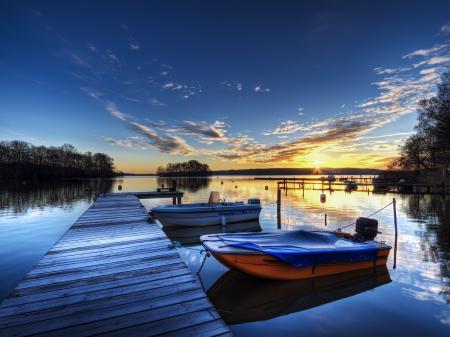 Фото причал, закат, лодки, вечер