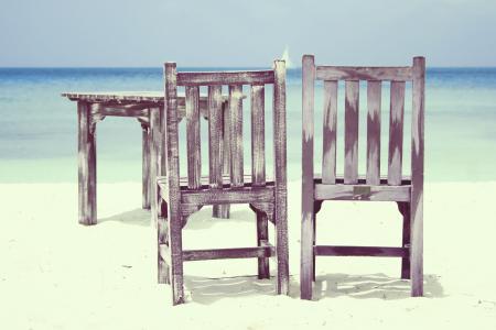 Фотографии пляж, стулья, стол, море