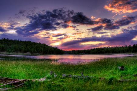 Заставки утро, небо, облака, озеро