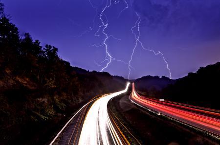 Картинки дорога, огни, молния, свет