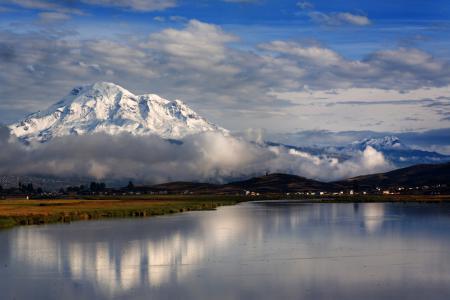 Картинки горы, озеро, облака