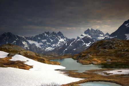 Фотографии горы, небо, снег, озеро
