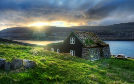 Картинки дом, река, солнце, небо