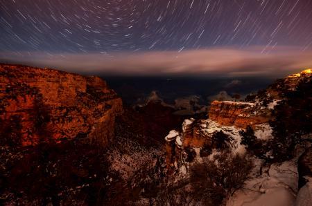 Фото ночь, звезды, каньон, долина