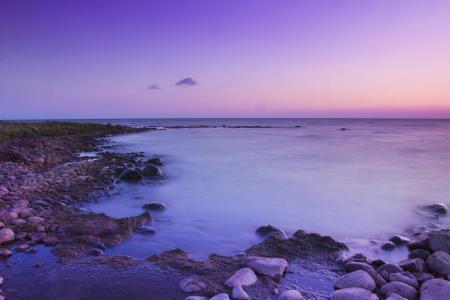 Фото море, берег, вечер, фиолетовый