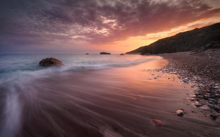 Фотографии океан, закат, камни, скалы