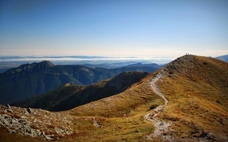Заставки природа, горы, люди, дорожка