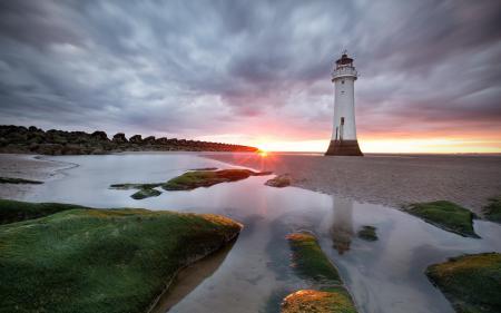 Картинки закат, маяк, пейзаж