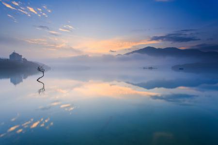 Заставки утро, горы, озеро, пар