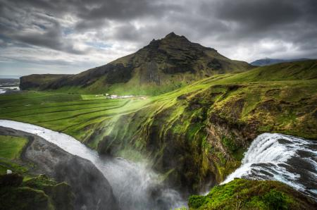 Картинки Iceland, Исландия, горы, водопад