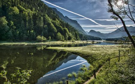 Обои река, горы, небо, природа