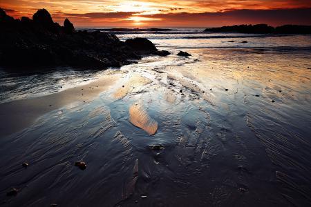 Обои море, закат, берег, пляж