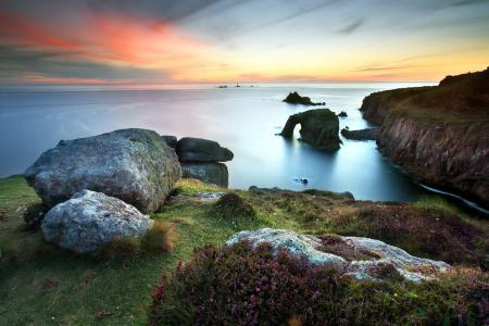 Картинки море, закат, берег, природа