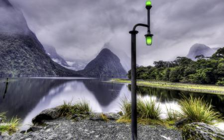 Картинки озеро, горы, светильник, пейзаж
