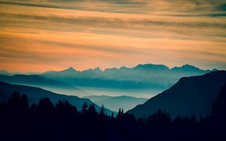 Картинки горы, закат, пейзаж, природа