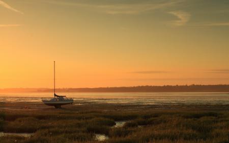 Заставки река, закат, лодка, пейзаж
