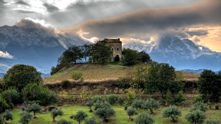 Обои природа, горы, дом, деревья