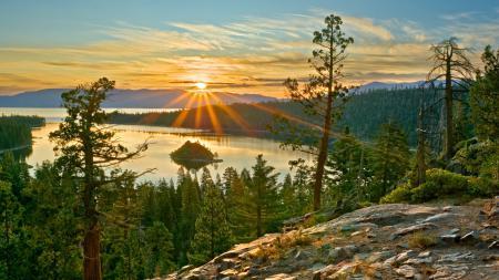 Обои природа, озеро, лес, деревья