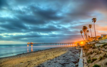 Фотографии море, мост, город, ночь