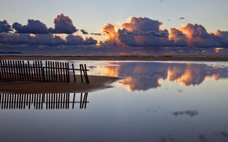 Фотографии море, закат, забор