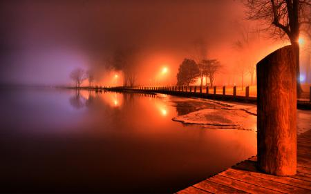 Картинки озеро, пирс, доски, столб