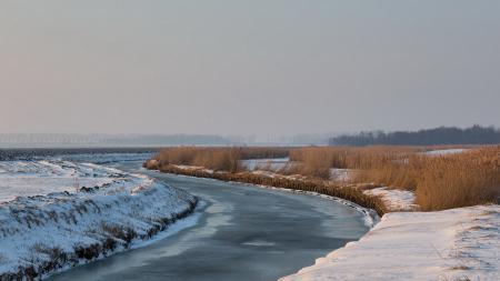 Картинки поле, река, зима, пейзаж