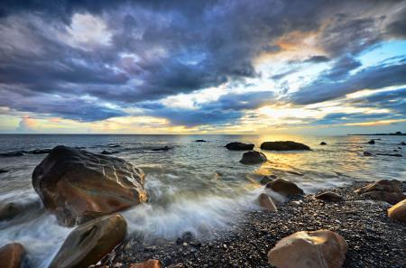 Фотографии облака, закат, горизонт, море