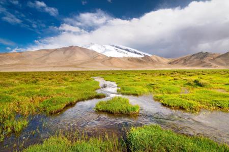 Обои пейзаж, горы, ручей, трава