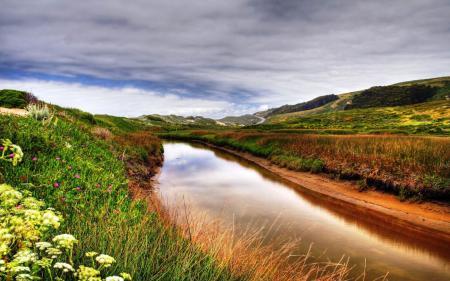 Фотографии Холмы, Река, Долина, Поляна