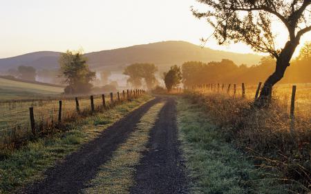 Фото дорога, франция, холмы, забор