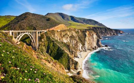 Фото мост, холмы, море, дорога