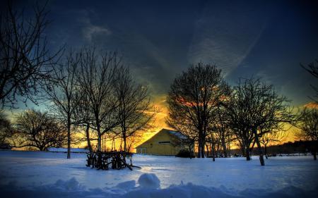 Картинки зима, дом, снег, закат