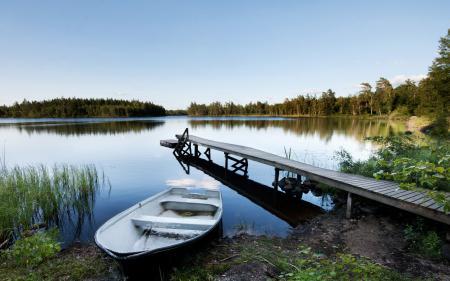 Фотографии берег, пирс, река, лодка