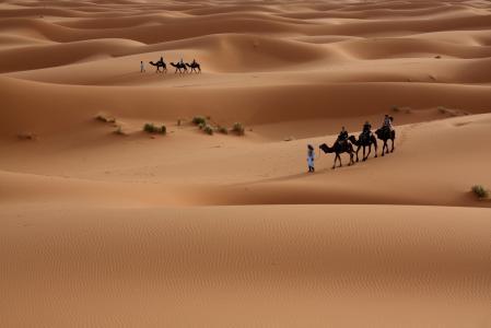 Обои Пустыня, Песок, Люди, Туристы