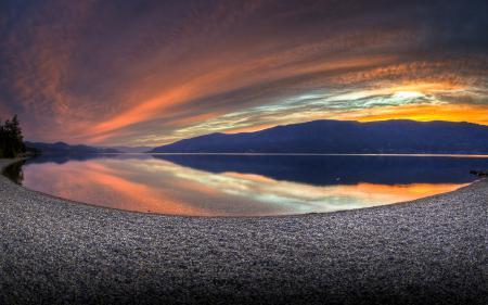 Фото закат, озеро, небо