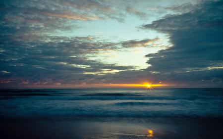 Обои море, волны, солнце, закат