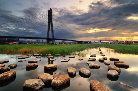 Обои мост, река, камни, гладь
