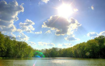 Фото река, лес, берег, небо