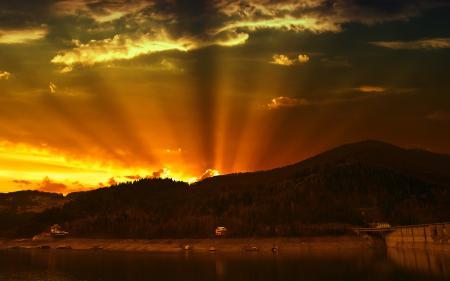 Картинки горы, восход, облока, река