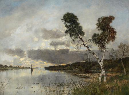 Заставки картина, пейзаж, холст, берёзы