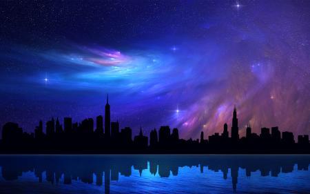 Картинки небо, город, созвездие