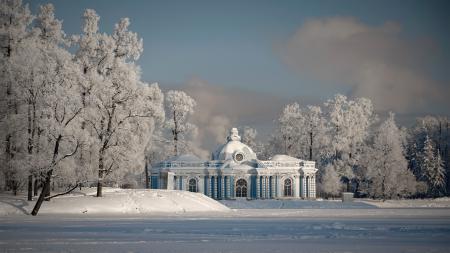 Картинки парк, снег, зима, вечер