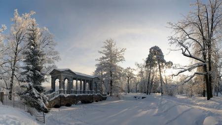 Заставки зима, парк, снег, деревья