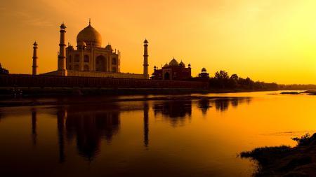 Фото храм, речка, закат, небо