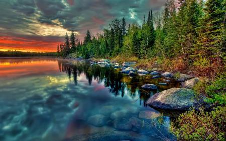 Обои озеро, природа, Пейзажи, закат