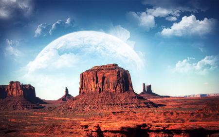 Фотографии Горы, Планета, Облака, Monument valley