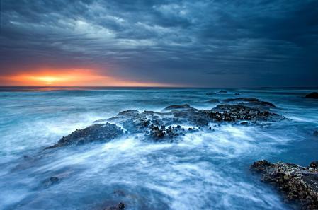 Фотографии море, закат, небо